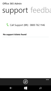 Tela de Service Request (chamados de suporte abertos)