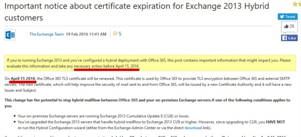 Important notice about certificate expiration for Exchange 2013 Hybrid customers - Exchange Team Blog - Site Home - TechNet Blogs